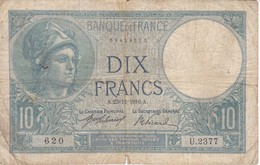 BILLETE DE FRANCIA DE 10 FRANCS DEL 23-12-1916  (BANKNOTE) MINERVE - 1871-1952 Antiguos Francos Circulantes En El XX Siglo