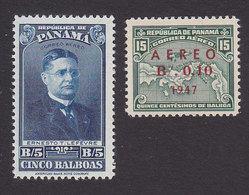 Panama, Scott #C81, C83, Mint Hinged, Lefevre, Map Surcharged, Issued 1943-47 - Panama