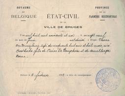 Bruges. Extrait D'état-civil  De Pierre DE BRUYCKERE, +  Le 29/06/1861. Fait Le 4/02/1913. - Belgique