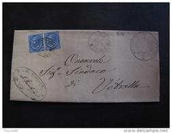 """3036 ITALIA Regno-1877-""""Effigie"""" C. 10 Coppia CAPRAROLA>VETRALLA (descrizione) - 1861-78 Vittorio Emanuele II"""
