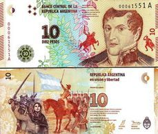 ARGENTINA 10 PESOS 2015 P NEW DESIGN JOSE DE SAN MARTIN UNC - Argentina