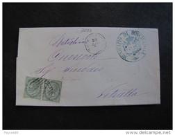 """3033 ITALIA Regno-1866- """"T 16 Torino"""" C. 5 Coppia RONCIGLIONE>VETRALLA (descrizione) - 1861-78 Vittorio Emanuele II"""