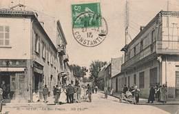 Algerie Setif La Rue Trajan Cpa Carte Animée Bar De La Poste Postes Et Telegraphes  PTT - Sétif