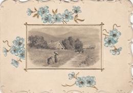 V1 - GLÜCKWUNSCHKÄRTCHEN, Gold Prägekarte Mit Litho, Um 1900, Gute Erhaltung, 10,5 X 9,5 Cm, Linker Rand Beschnitten - Seasons & Holidays