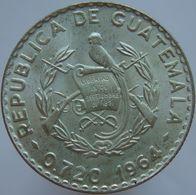 Guatemala 25 Centavos 1964 UNC Scarce - Silver - Guatemala