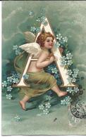 Ange , Angelot , Alphabet , A , Gaufrée , Dorée - Angels