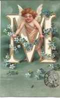 Ange , Angelot , Alphabet , M , Gaufrée , Dorée - Angels