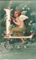 Ange , Angelot , Alphabet , L , Gaufrée , Dorée - Angels