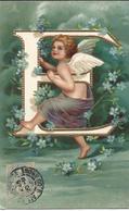 Ange , Angelot , Alphabet , E , Gaufrée , Dorée - Angels