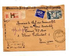 Lettre Recommandee Paris Franchissement Sur Exposition Paix + Paris P-L-M ? - Marcophilie (Lettres)