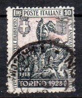 1928 Regno Emanuele Filiberto 10 Lire Nero E Rosa N. 237 Timbrato Used - 1900-44 Victor Emmanuel III