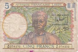 BILLETE DE AFRIQUE FRANCAISE LIBRE DE 5 FRANCS DEL AÑO 1941  (BANKNOTE) - Billetes