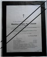 Faire Part Décès Abbé LESAGE , Curé De WISSANT - 1967 - Overlijden
