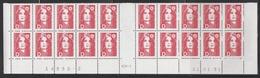 """2712 """"D""""  BRIAT ROUGE - BAS De FEUILLES X 20 - RGR 1  Du 21.01.91 - 1989-96 Marianne Du Bicentenaire"""