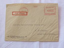 Finland 1954 Cover Helsinki To London - Machine Franking - Finland