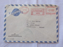 Finland 1954 Cover Helsinki To England - Machine Franking - Finland
