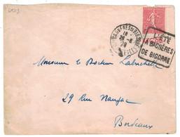 """1929 - SEMEUSE N° 199 Avec BANDE PUB PUBLICITAIRE """" LAME LE COQ """" Sur LETTRE De BAGNERES DE BIGORRE DAGUIN Pour BORDEAUX - 1921-1960: Modern Period"""