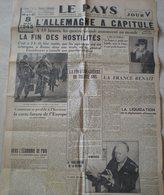 Journal Le Pays Du 8 Mai 1945 ,l'Allemagne A Capitulé .journal D'époque - Documents