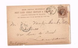 Entier Postal à 1/2 Penny. Expédié De Dublin à Louvain (Belgique) - Entiers Postaux