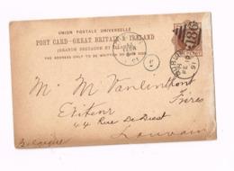 Entier Postal à 1 Penny. Expédié De Dublin à Louvain (Belgique) - Entiers Postaux