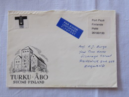 Finland Cover Turku To England - Postage Paid - Finland