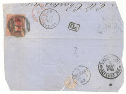 "1862  BRIEFFRAGMENT COB 12 V. ANVERS  N. BELFAST STEMPEL""ANGLETRRE PAR AMBt OUEST"" Zie Scan(s) - 1858-1862 Medallions (9/12)"