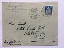 SWITZERLAND - 1913 Cover - Murren To England - Hotel Alpenruhe Envelope - Svizzera