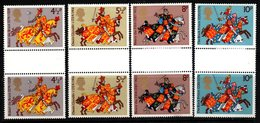 R370- GREAT BRITAIN. 1974 - SC#:724-727- MNH - GUTTER PAIRS SET GREAT BRITONS - - Horses