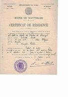 Wattrelos. Certificat De Résidence De Camille VANHOUTTE Fait Le 7/07/1913 - France