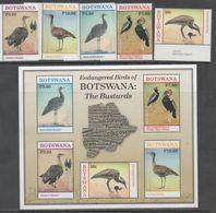 BOTSWANA, 2017, MNH, BIRDS, BUSTARDS, 5v+ SHEETLET - Birds