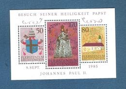 LIECHTENSTEIN - 1985 - BF NUOVO STL CON 3 VALORI - VISITA DEL PAPA GIOVANNI PAOLO II - IN OTTIME CONDIZIONI. - Blocchi & Fogli