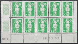 3005 2.70F. BRIAT VERT - DEMI BAS De FEUILLE X 10 - RGR 1  Du 18.03.97 Avec Guillochis - RE à DEOITE - 1989-96 Maríanne Du Bicentenaire
