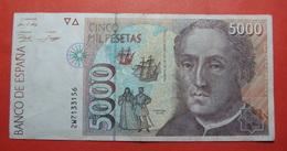 SPAIN 5000 Pesetas 1992, COLUMBUS, Big Value, RARE - [ 4] 1975-… : Juan Carlos I