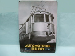 Atlas - PLAQUE EMAILLEE TOLE Métal Automotrice BUDD ETAT 1937 28,5 X 21cm NEUF - Advertising (Porcelain) Signs