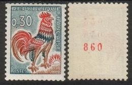 France N° 1331 Ab** Roulette Avec N° Rouge Coq De Decaris 0.30 - Rollen
