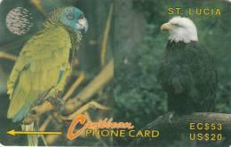 ST. LUCIA ISL.(GPT) - St.Lucia Amazon Parrot, American Bald Eagle, CN : 14CSLE, Tirage 9789, Used - Santa Lucía