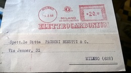 EMA 1958 MILANO ELETTROCARBONIUM - Marcophilie - EMA (Empreintes Machines)