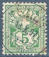 Ziffer 82, 5 Rp.grün  MENIERES (FRIBOURG)          1907 - 1882-1906 Armoiries, Helvetia Debout & UPU