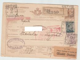 RC Storia Postale Regno Bollettino Di Spedizione Pacchi £. 0,60 Da Nesso 29.07.13 Per La Svizzera - 1900-44 Vittorio Emanuele III