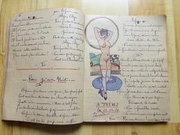 CAHIER ILLUSTRE DE DESSINS EROTIQUES + CHANSONS D'UN MILITAIRE INFIRMIER CHAUD LAPIN 1929 A TREVES - CURIOSA MILITARIA - Vecchi Documenti