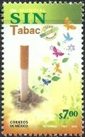 2012 MÉXICO Día Mundial Sin Tabaco MNH, WORLD ANTI-  TOBACCO DAY, CIGAR, BUTTERFLIES,  Health MNH - México