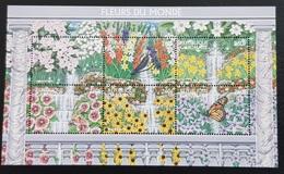 GABON 1997 YT 927 /32 SHEET BLOC BUTTERFLIES BUTTERFLY PAPILLONS FLEURS FLOWERS DU MONDE WORLD SHEET RARE MNH - Butterflies