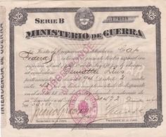 MINISTERIO DE GUERRA CAPITAL FEDERAL TASA TAXE IMPOSTO INCUMPLIMIENTO SERVICIO MILITAR 1915 $25 RARE - BLEUP - Documents Historiques