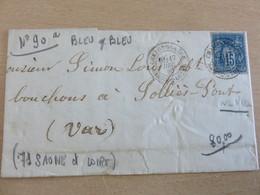 LAC, N°90, Bleu Sur Bleu, De Chalon Sur Saone à Sollies-Pont (Var), 17-12-80 (B42-L6) - 1849-1876: Periodo Classico