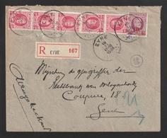 Aangetekende Brief EYNE Naar Gent - Houyoux OCB 202 - 40ct. (5x) + 246 - 10ct. - 1922-1927 Houyoux