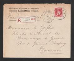 Montenez - Nr. 212 -  75 Ct. Op Aangetekende Brief Van LESSINES Naar Tournai - 1921-1925 Petit Montenez