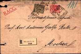 720) LETTERA RACCOMANDATA CON 45C. FLOREALE+10C. LEONI DA MILANO A MODICA IL 1-6-1909 - 1900-44 Vittorio Emanuele III