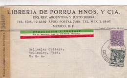 LIBRERIA DE PORRUA HNOS Y CIA-COMMERCIAL ENVELOPE OPENED BY CENSOR CIRCULEE 1941 MEXICO TO USA - BLEUP - México