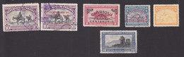 Panama, Scott #C106-C109, C112-C113, Used, Cervantes, Regular Issues Overprinted, Map, Gate, Issued 1948-49 - Panama