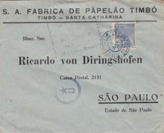 SA FABRICA DE PAPELAO TIMBO-COMMERCIAL ENVELOPE CIRCULEE CIRCA 1940s BRAZIL BRESIL AUTRES MARQUES - BLEUP - Cartas